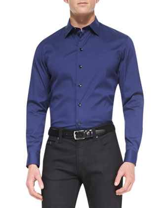 Stretch-Cotton Dress Shirt, Blue