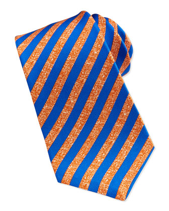 Satin-Stripe Silk Tie, Orange/Blue