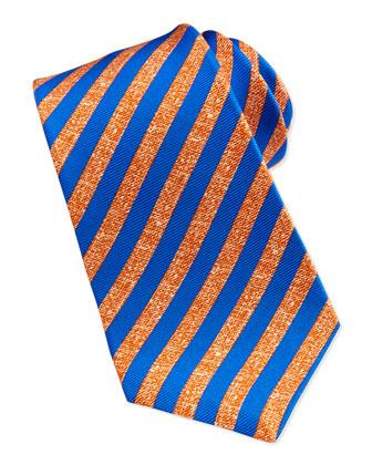 Satin-Stripe Silk Tie, Orange/Blue