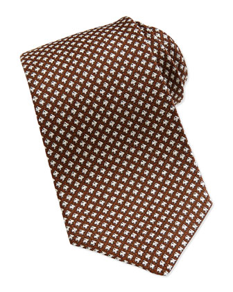 Neat-Pattern Grenadine Tie, Brown