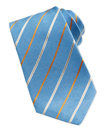 Satin-Stripe Oxford Tie, Blue