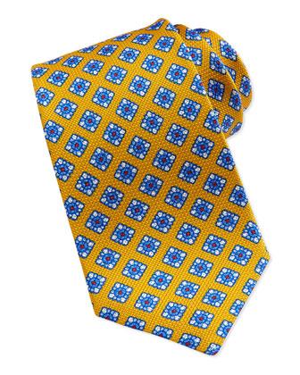 Floral-Print Grenadine Tie, Yellow