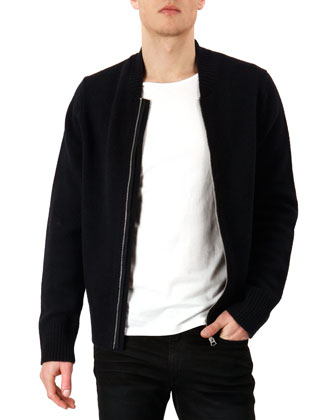 Knit Zip-Front Cardigan, Navy