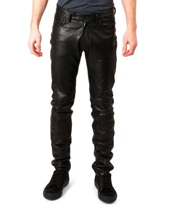 Lambskin Straight-Leg Pants