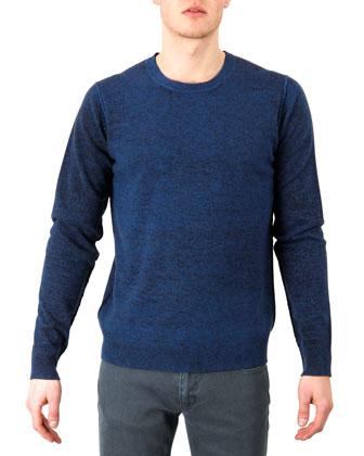 Reversible Wool Sweater, Blue-Navy