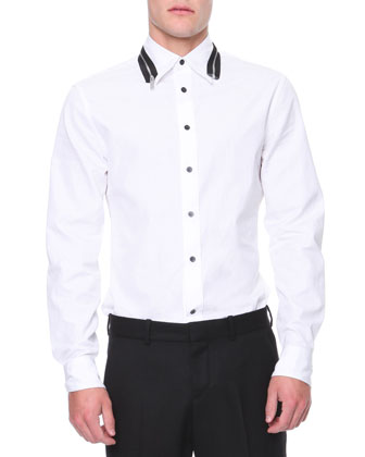 Zippered Collar and Sleeve Shirt, White