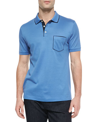 Tipped Pocket Polo, Light Blue