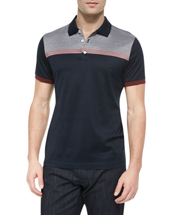 Jacquard-Yoke Polo Shirt, Multi