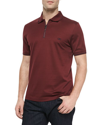 Zip-Placket Tipped Polo, Burgundy