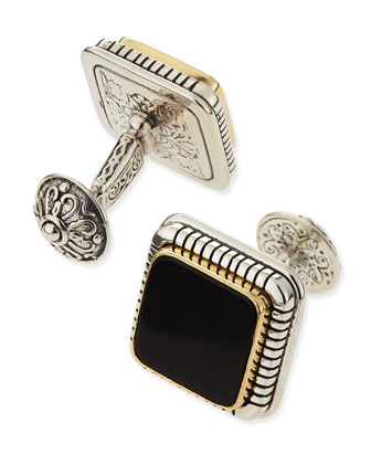 Silver, Gold, and Onyx Cuff Links