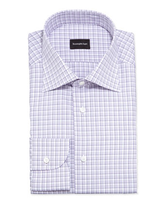 Shadow-Box Check Dress Shirt, Purple