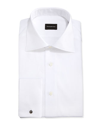 French-Cuff White-On-White Dress Shirt