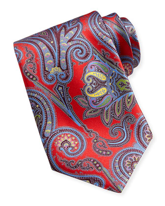 Saturated Paisley-Print Silk Tie, Red