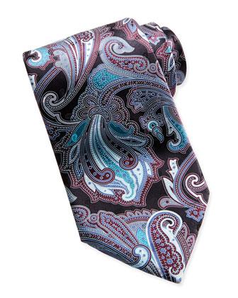 Paisley-Print Silk Tie, Black