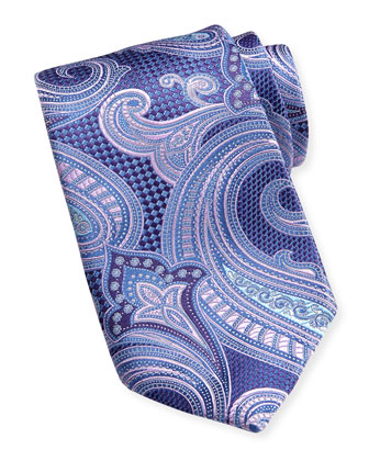 Basket-Weave Paisley Grenadine Silk Tie, Purple