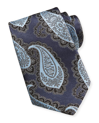 Textured Grenadine Silk Tie, Navy