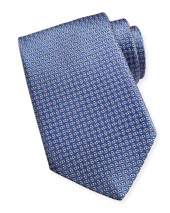 Micro Geo Neats Silk Tie, Blue