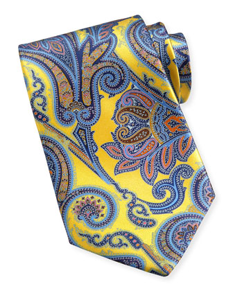 Saturated Paisley-Print Silk Tie, Yellow