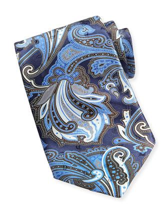 Scarf-Paisley-Print Satin Tie, Blue