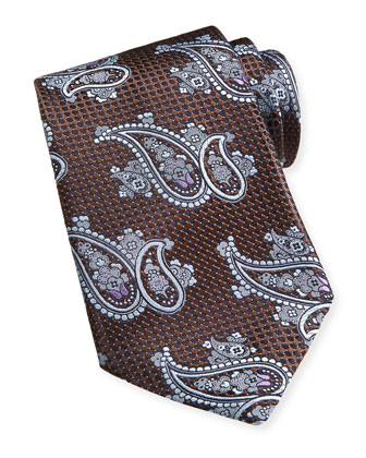 Paisley Textured Silk Tie, Brown