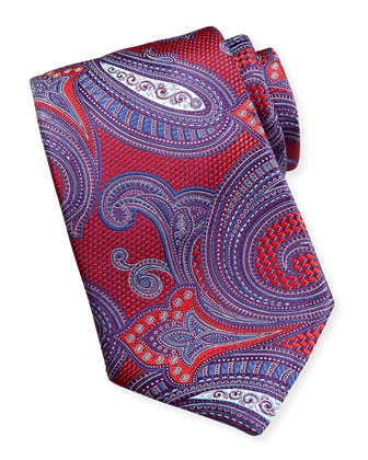 Basket-Weave Paisley Silk Tie, Red