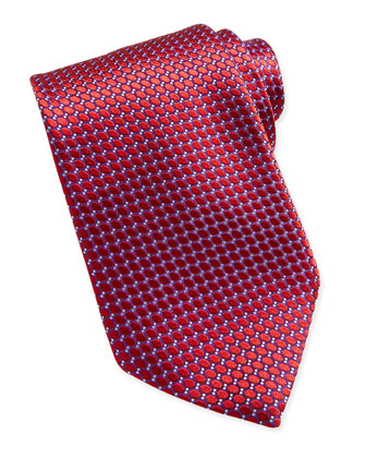 Textured Ovals Silk Tie, Red
