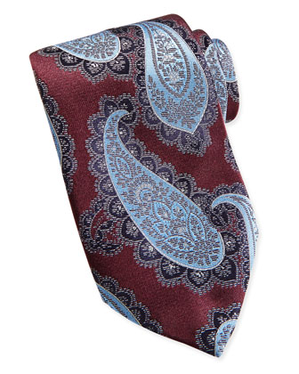 Textured Grenadine Paisley Silk Tie, Burgundy