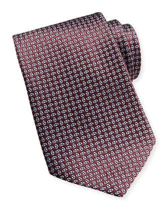 Micro Geo Neats Silk Tie, Burgundy