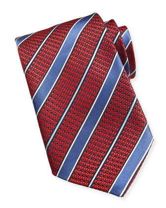 Textured Satin Striped Tie, Red