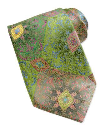 Quindici Patchwork Silk Tie, Taupe