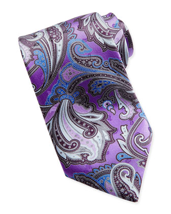 Paisley-Print Silk Tie, Purple