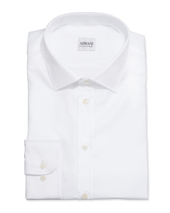 White-On-White Textured Stripe Dress Shirt, White