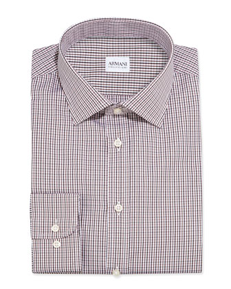 Small-Check Dress Shirt, Pink/Brown