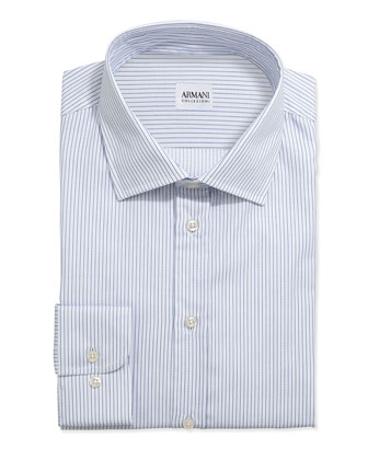 Textured Pinstripe Grenadine Dress Shirt, White/Blue