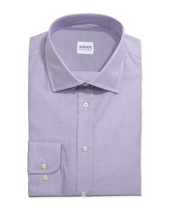 Tonal Basketweave Dress Shirt, Lavender
