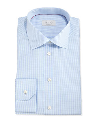 Long-Sleeve Houndstooth Twill Dress Shirt, Light Blue
