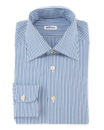 Shadow-Stripe Woven Dress Shirt, Blue