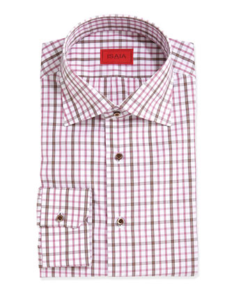 Woven Check Dress Shirt, Brown/Pink/White