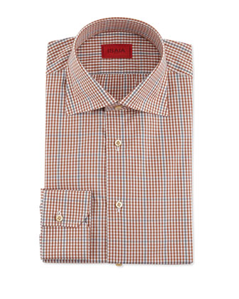 Windowpane and Check Shirt, Rust/Gray