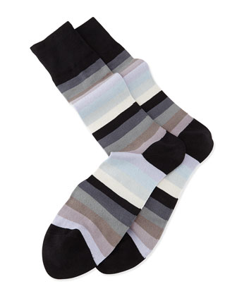 Blender Striped Knit Socks, Gray