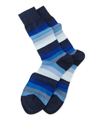 Blender Striped Knit Socks, Blue