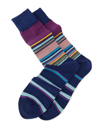 Mini-Block Striped Knit Socks, Blue