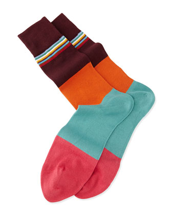 Multi-Top Block Striped Knit Socks, Med Pink
