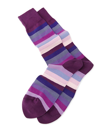 Blender Striped Knit Socks, Purple