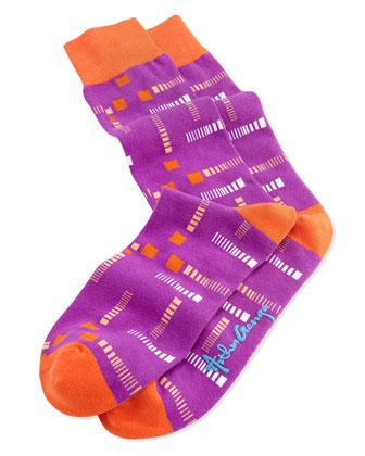 Men's Square-Lines Knit Socks, Wine