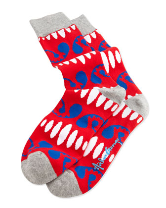 Men's Ovals And Pines Pattern Knit Socks, Red
