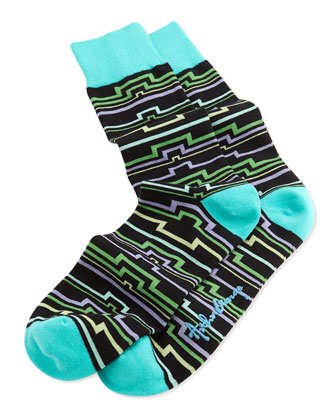 Men's Geometric-Line Pattern Knit Socks, Black