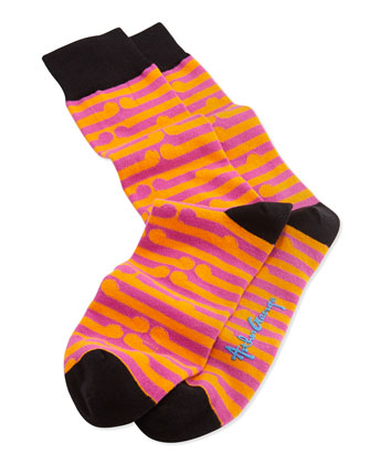Men's Circle-Pattern Knit Socks, Orange