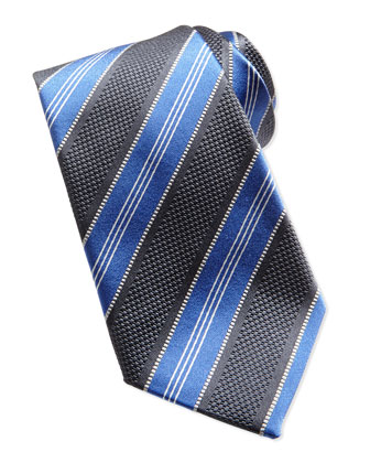 Men's Textured Stripe Woven Tie, Charcoal
