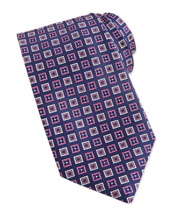 Flower-Box Pattern Woven Tie, Navy